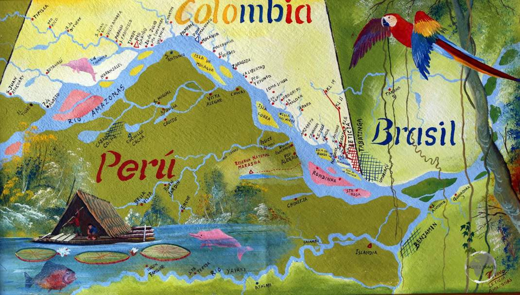 A painting of the 'Tres Fronteras' (Three Frontiers) region, the tri-meeting point of Colombia, Peru and Brazil which lies deep in the Amazon jungle.