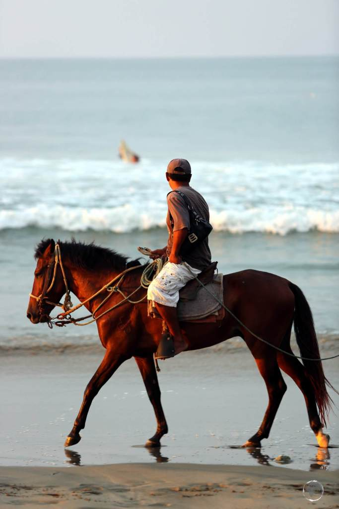 Besides surfing, horse-back riding is another popular activity along the long stretch of sand at Máncora beach.