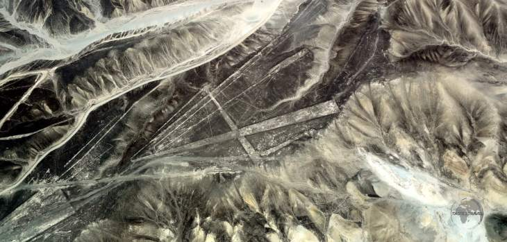 Looking like ancient runways in the desert, geometric 'Nazca Lines' shapes crisscross in the Peruvian desert, near the city of Nazca.