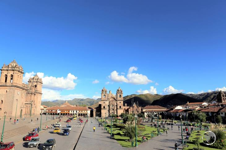 The Plaza de Armas, the main square of the Andean city of Cusco, is flanked by the Cathedral Basilica of the Assumption of the Virgin (left) and the Company of Jesus (right).