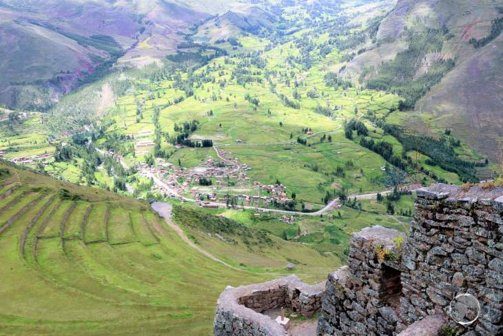 Home to soaring ancient terraces, the Inca ruins at 'Pisac' were constructed, no earlier than 1440, on a mountain ridge which overlooks the Sacred Valley.