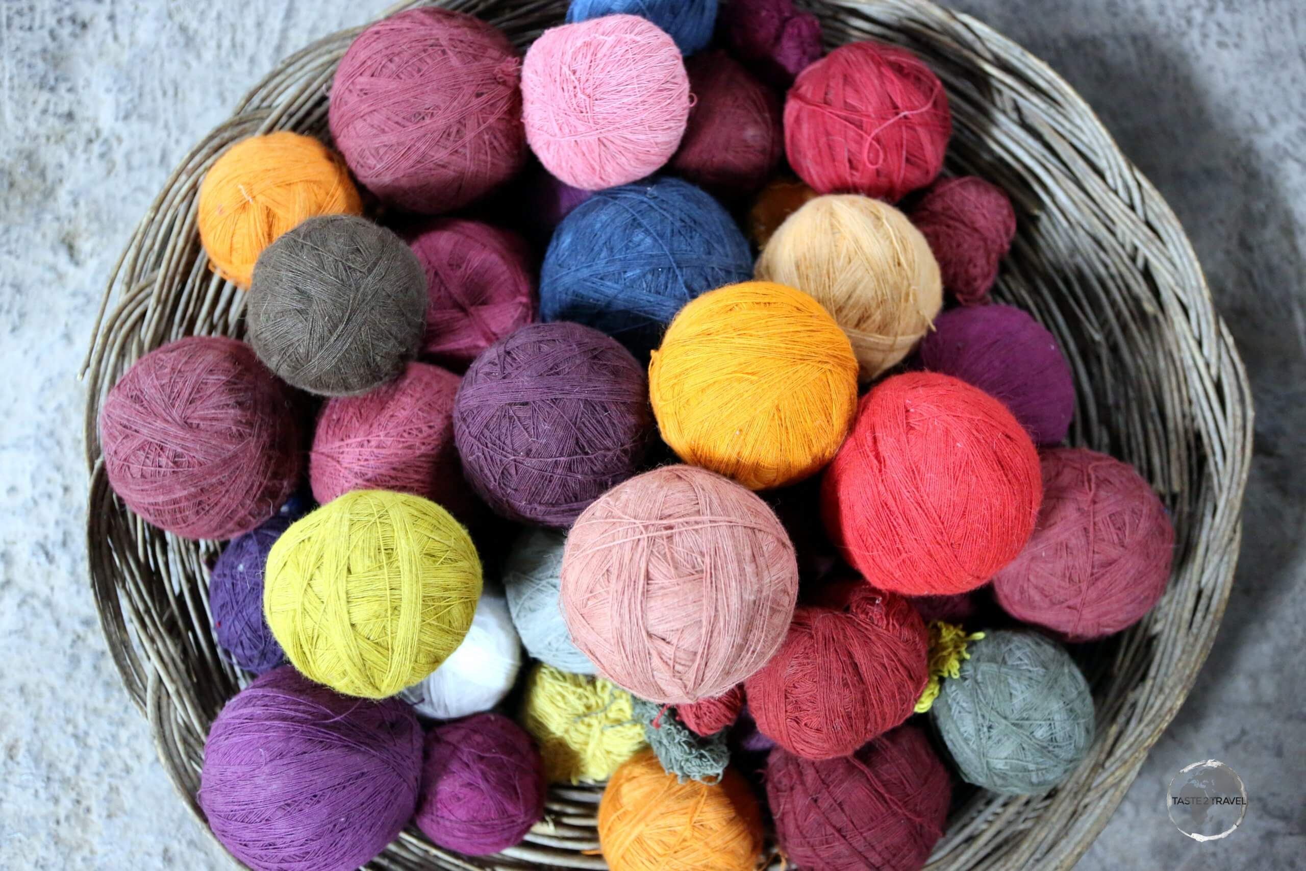 Balls of hand-spun, and hand-coloured, yarn at the 'Chinchero Centre for Traditional Culture', where local Quechua woman weave colourful, high-quality textiles.