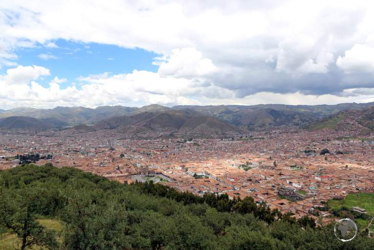 A view of Cusco from Sacsayhuamán. A key tourist hub, Cusco served as the capital of the Inca Empire, and now known for its Inca remains and Spanish colonial architecture.