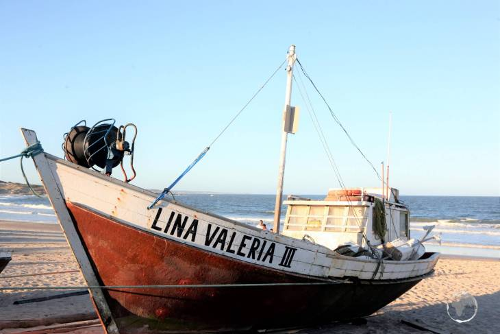 A fishing boat on the beach of Punta del Diablo, a beachside town located on the north coast of Uruguay.