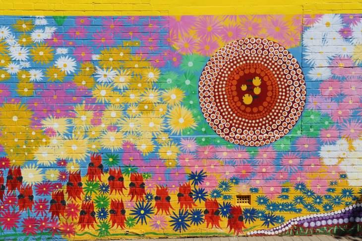 Colourful Aboriginal street art in downtown Kalgoorlie.