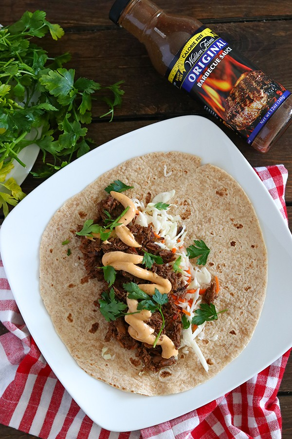 Slow Cooker BBQ Burritos