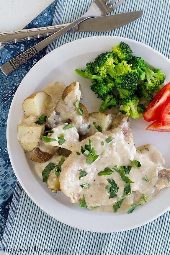 Slow Cooker Creamy Ranch Pork Chops and Potatoes | www.tasteandtellblog.com