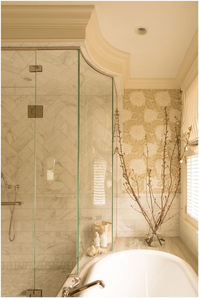 taste design inc custom glass shower with chevron marble tile and tub surround taste artful interiors design
