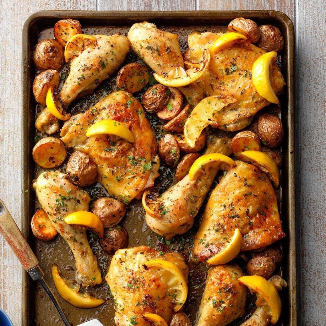 Sheet-Pan Lemon Garlic Chicken Recipe | Taste of Home