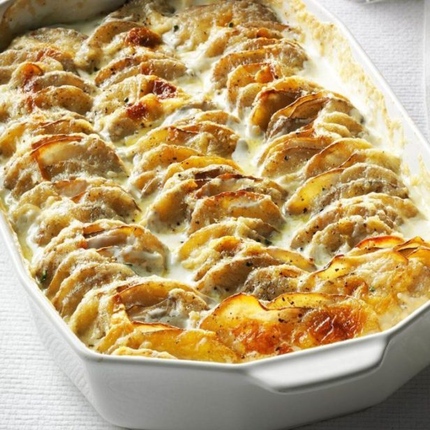 A casserole filled with Easy Scalloped Potatoes