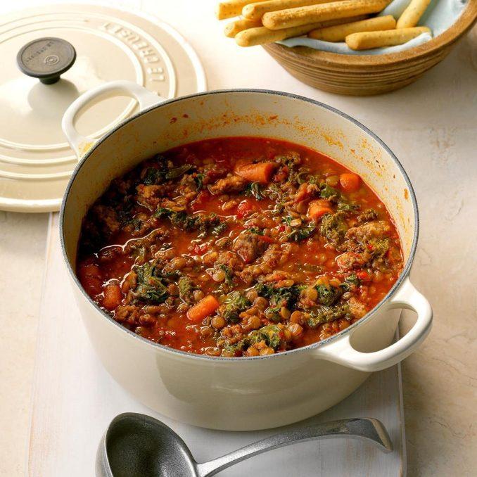 Sausage & Kale Lentil Stew Recipe | Taste of Home