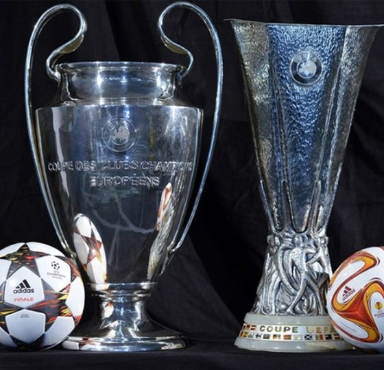 Champions and Europa League Trophies