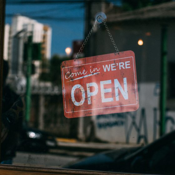 Open sign in shop window