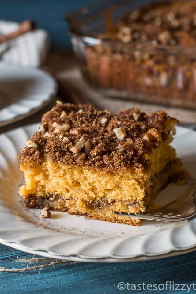 This easy morning Butterscotch Coffee Cake is moist, spongy cake with a cinnamon-butterscotch flavor. You'll love this super-easy recipe because it uses a boxed yellow cake mix. I love to experiment with from-scratch cakes, but I also love to try out recipes that use boxed cake mixes. This coffee cake is just that. It's quick when you are short on time, and really has an unbeatable taste!
