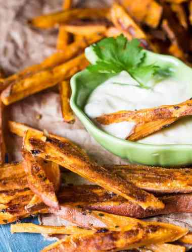 Spicy Baked Sweet Potato Fries with Dipping Sauce