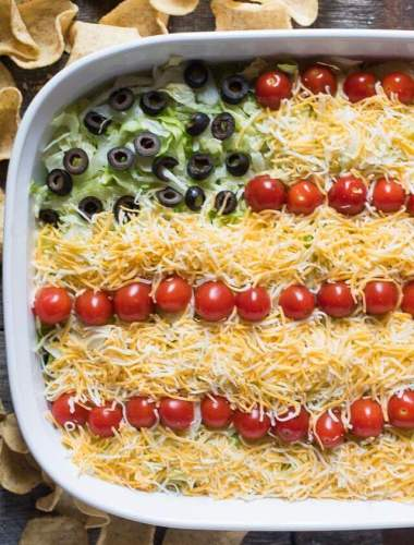 Bring this Patriotic Easy Layered Taco Dip to your next summer picnic! It's a quick and easy side dish that you don't have to bake. Serve with tortilla chips.