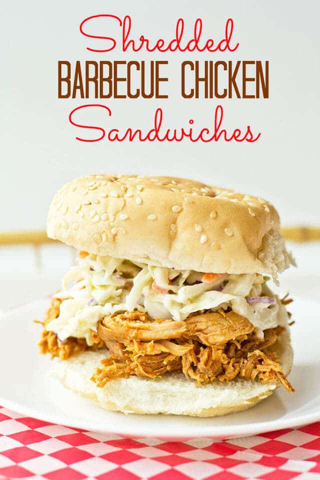 Shredded Barbecue Chicken Sandwiches {Easy Slow Cooker Recipe}