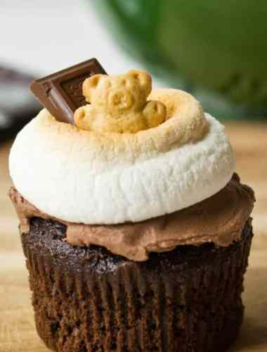 S'more cupcakes are a different take on the traditional S'more. Great for a camping themed party or a fun snack for kids!