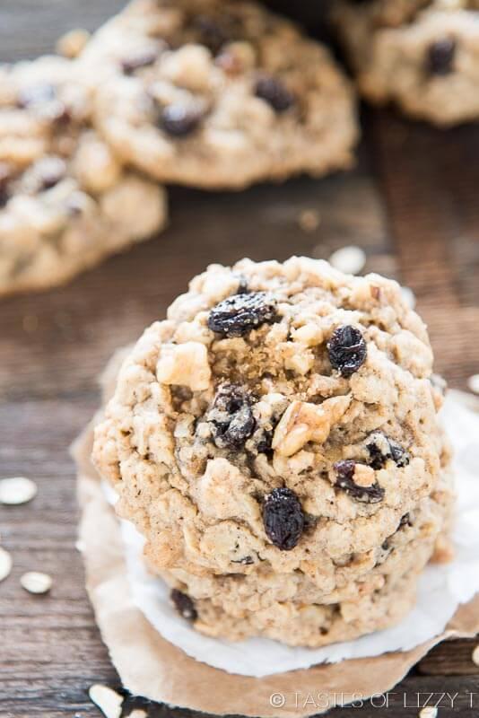 Soft, chewy, cinnamon oatmeal raisin cookies full of raisins and walnuts.