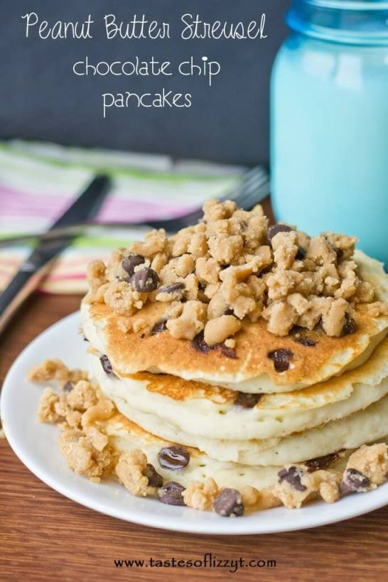 Peanut Butter Streusel Chocolate Chip Pancakes {Tastes of Lizzy T}