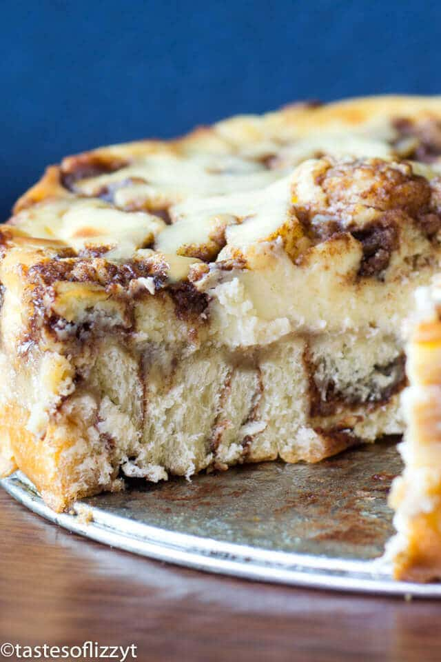 With cinnamon swirled cream cheese and a cinnamon roll crust, this Cinnamon Roll Cheesecake will quickly become your favorite dessert recipe (or even breakfast!).
