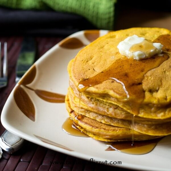plate of homemade pancakes made with pumpkin and protein powder