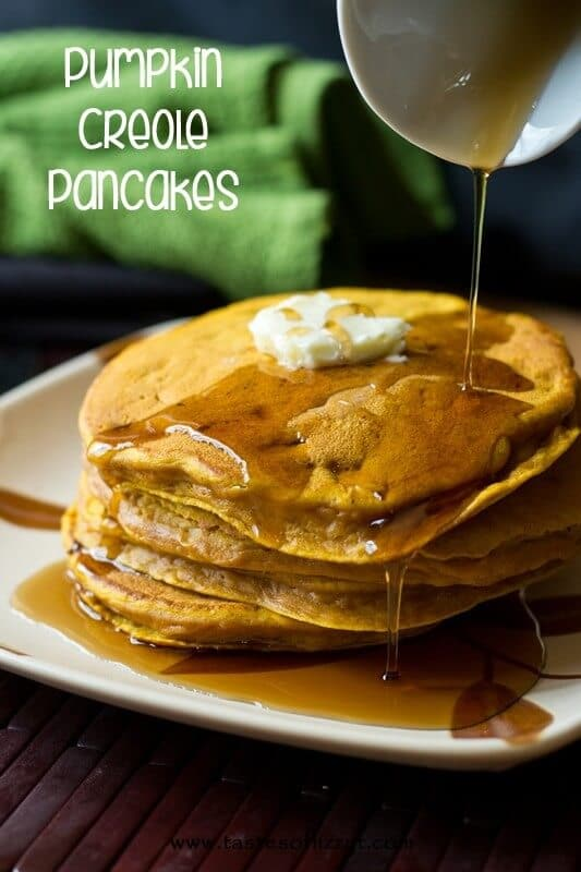 stack of Pumpkin Creole Pancakes