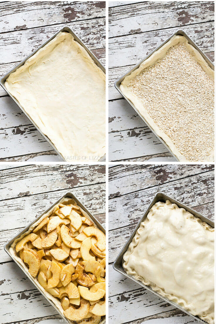 adding ingredients to a pastry crust to make apple pie bars