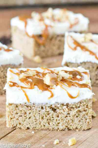 Frosted Caramel Zucchini Bars