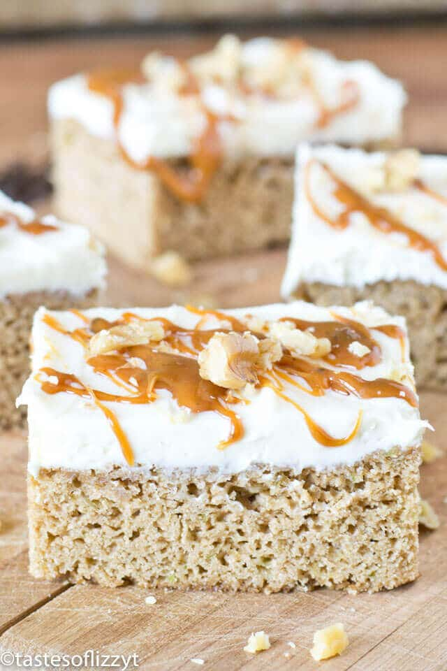frosted caramel zucchini bars from box cake mix recipe