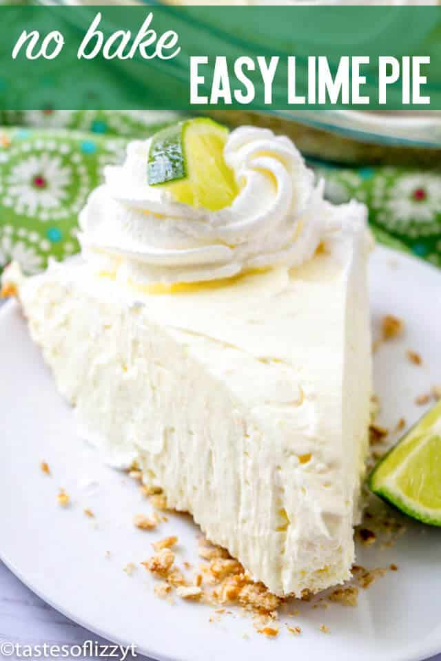 No Bake Lime Pie is a cool, creamy dessert with sweet cream cheese, tangy lime and a salty crushed pretzel crust. Make it no-bake with a store bought crust for an easy summer dessert recipe!