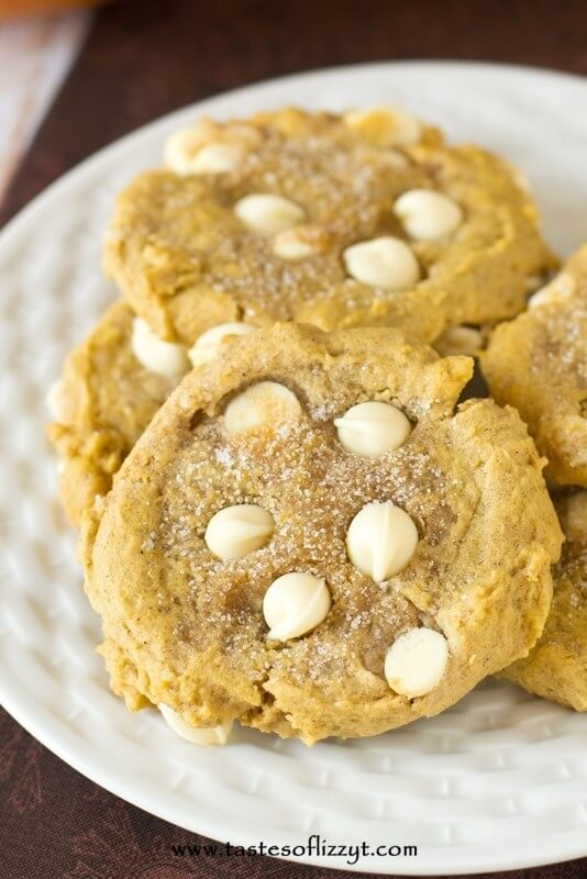 soft pumpkin cookies with white chocolate chips