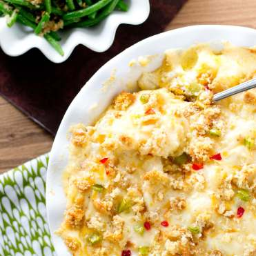 christmas cheese potatoes with peppers and pimentos