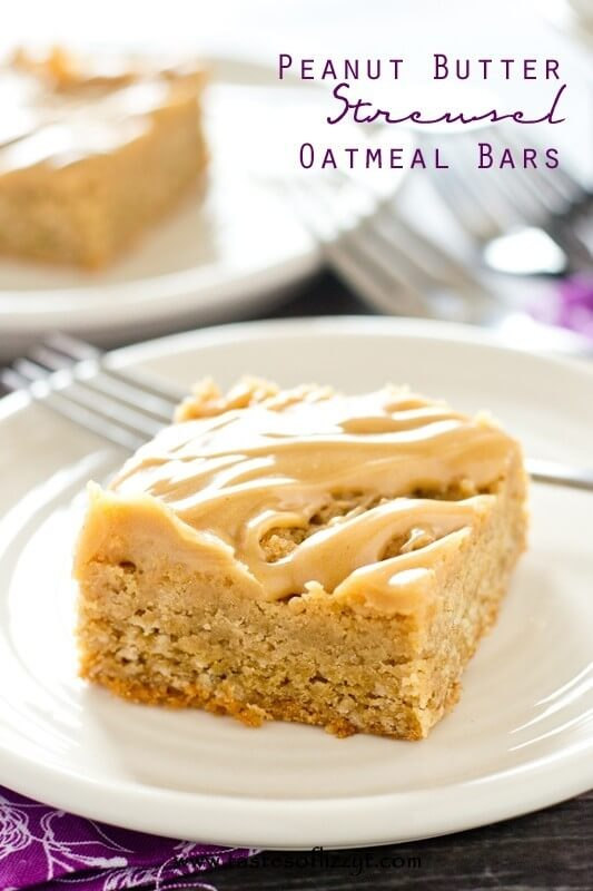 Peanut Butter Streusel Oatmeal Bars - Tastes of Lizzy T
