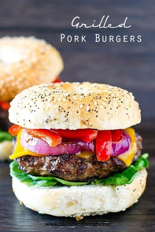 Grilled Pork Burger Recipe - Tastes of Lizzy T