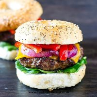 Needing a change from the traditional hamburger? You'll love the savory pork seasonings in these Grilled Pork Burgers with sautéed onions and peppers.