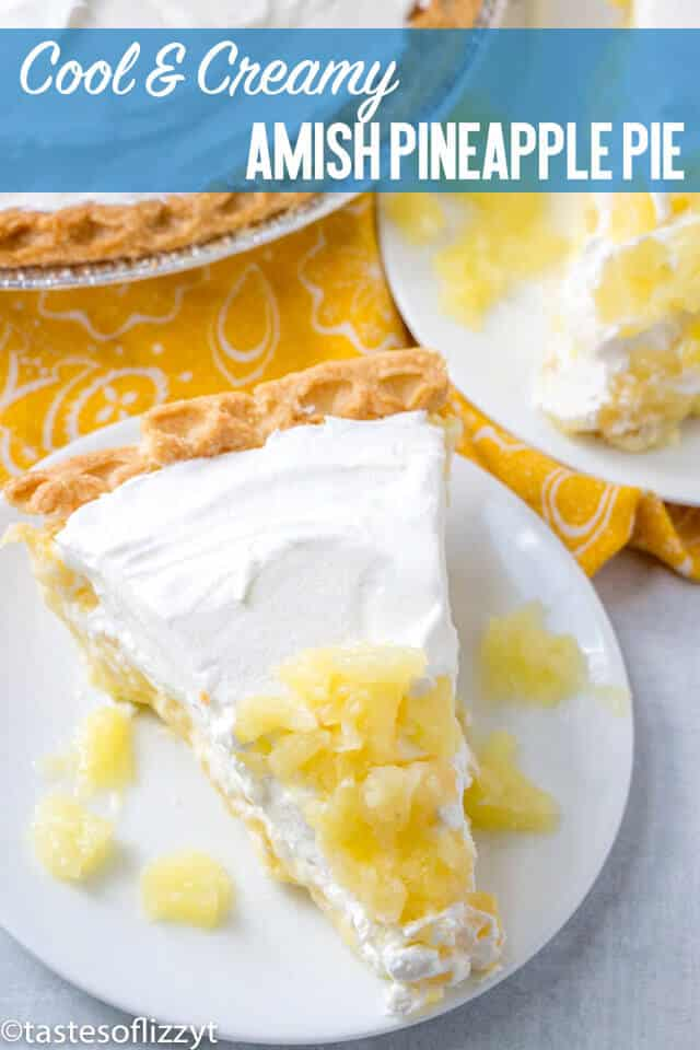 A unique pie recipe from an old Amish cookbook. This Amish Pineapple Pie is a creamy, cool sweet treat that won't heat up your kitchen!