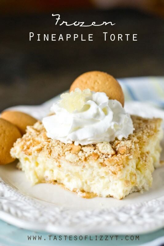 Looking for a light, refreshing, no-bake dessert? This frozen pineapple torte has vanilla wafer crumbs that surround a lightly sweetened, creamy custard filling.