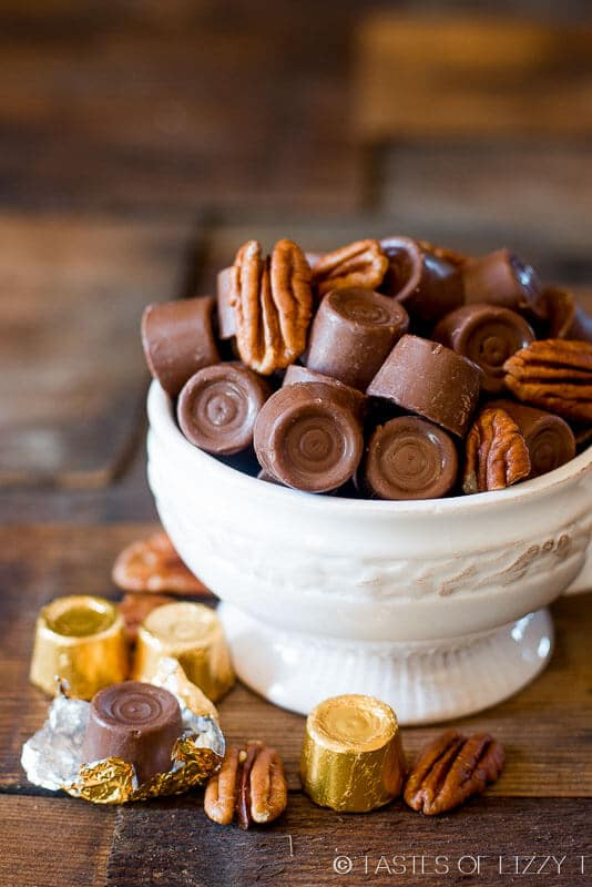 candy dish filled with Rolo candies