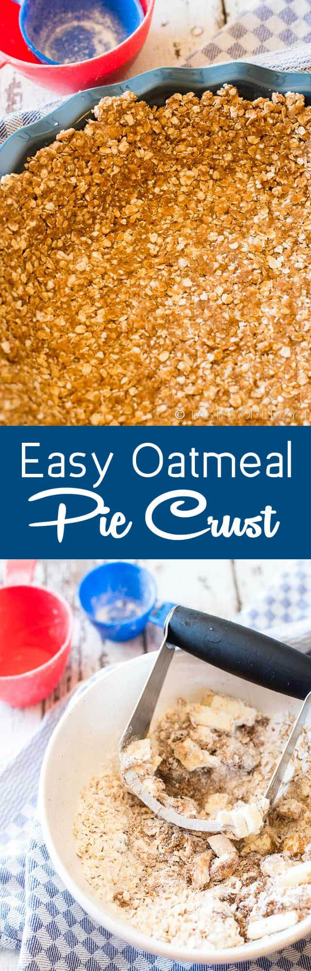 Tired of graham cracker crusts? This 5 ingredient, brown sugar, easy oatmeal pie crust makes the most delicious and unique base to creamy, no-bake pies. It tastes like an oatmeal cookie!