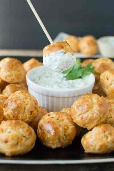 Chipotle Cheddar Gougeres with Cilantro Lime Dip