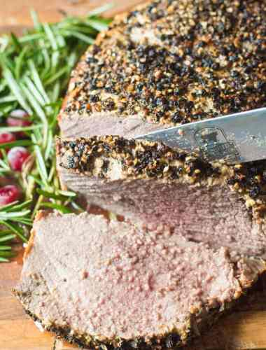Sirloin Roast Beef with Peppercorn Crusted Top {Oven Roasting Tips}