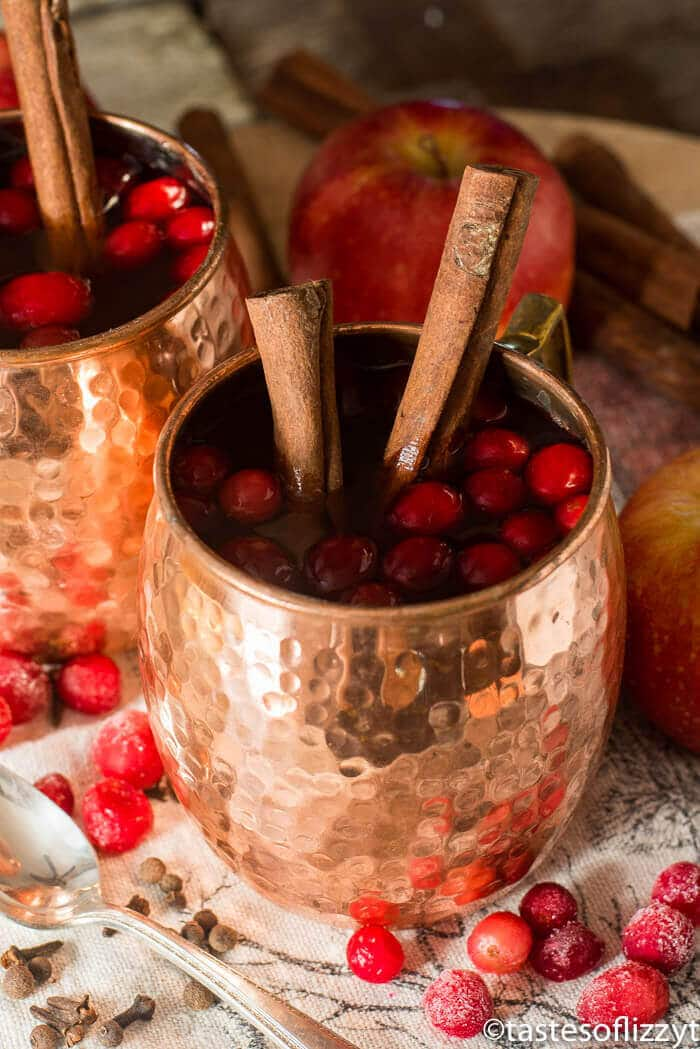 moscow mule mug full of spiced cranberry apple cider, garnished with whole cinnamon sticks and fresh cranberries