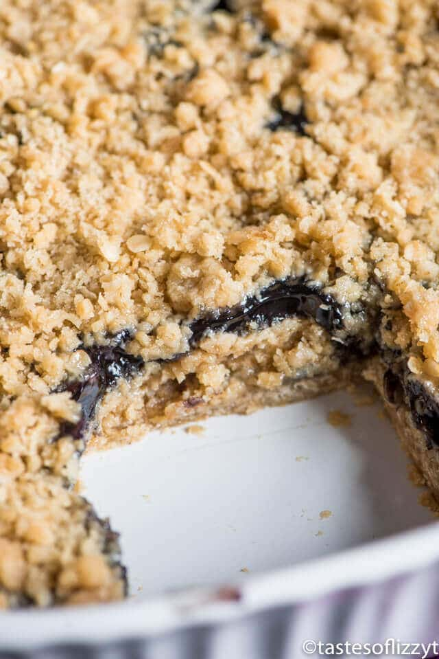 Only 6 ingredients and 10 minute prep time and these Blueberry Oatmeal Bars are ready for the oven. Similar to blueberry crisp, these are perfect with a scoop of ice cream!