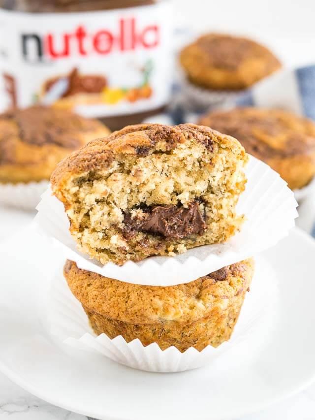 Nutella Stuffed Banana Muffins