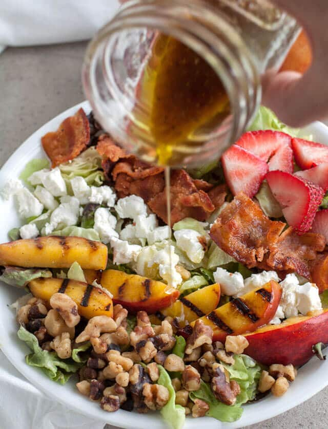 Grilled Peach and Bacon Salad