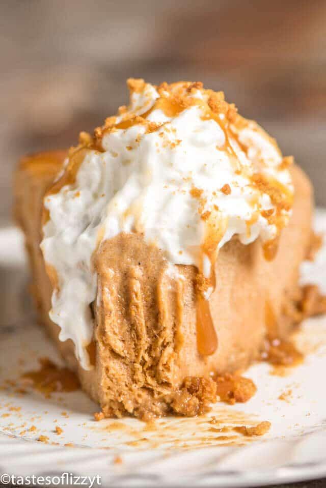 frozen pumpkin pie dessert made with cappucino gelato on a gingersnap crust
