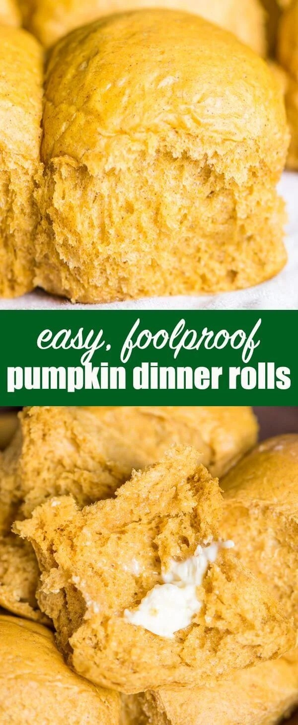 titled photo collage (and shown): easy foolproof pumpkin dinner rolls