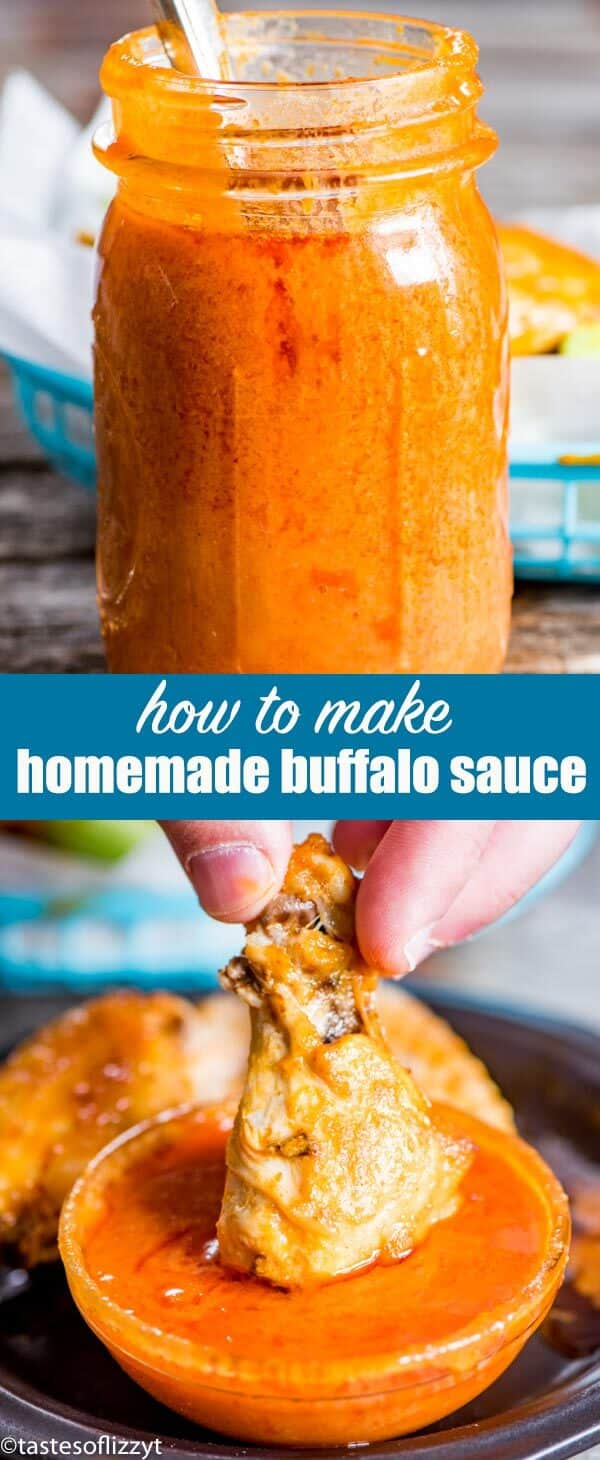 The best homemade buffalo sauce recipe. Made just as you like it with the right amount of spice. Perfect for buffalo wings, pulled pork, burgers and chicken fingers. #buffalo #wings #chickenwings #buffalosauce #gameday