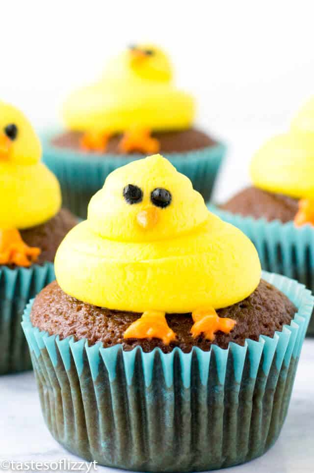 baby chicks cupcakes for spring/easter
